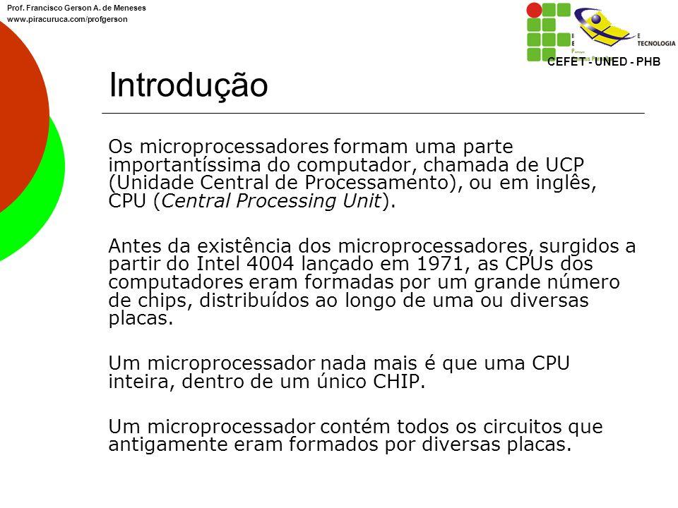 Introdução Os microprocessadores formam uma parte importantíssima do computador, chamada de UCP (Unidade Central de Processamento), ou em inglês, CPU