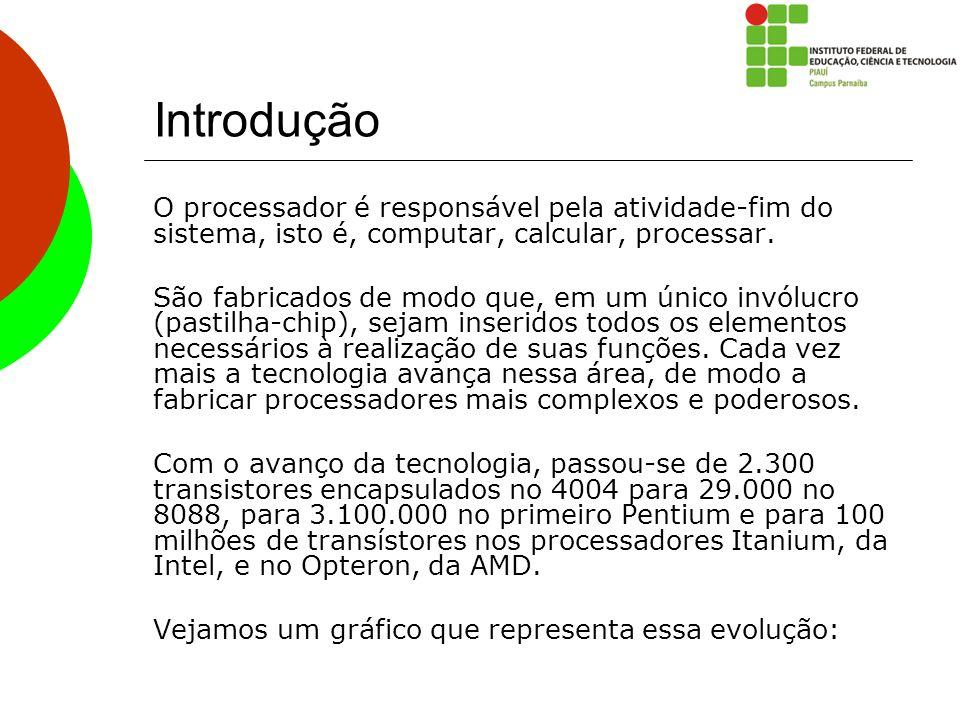 Introdução O processador é responsável pela atividade-fim do sistema, isto é, computar, calcular, processar. São fabricados de modo que, em um único i