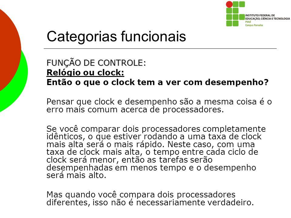 Categorias funcionais FUNÇÃO DE CONTROLE: Relógio ou clock: Então o que o clock tem a ver com desempenho? Pensar que clock e desempenho são a mesma co
