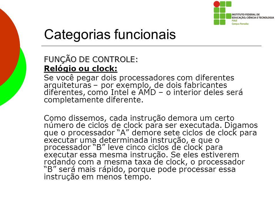 Categorias funcionais FUNÇÃO DE CONTROLE: Relógio ou clock: Se você pegar dois processadores com diferentes arquiteturas – por exemplo, de dois fabric