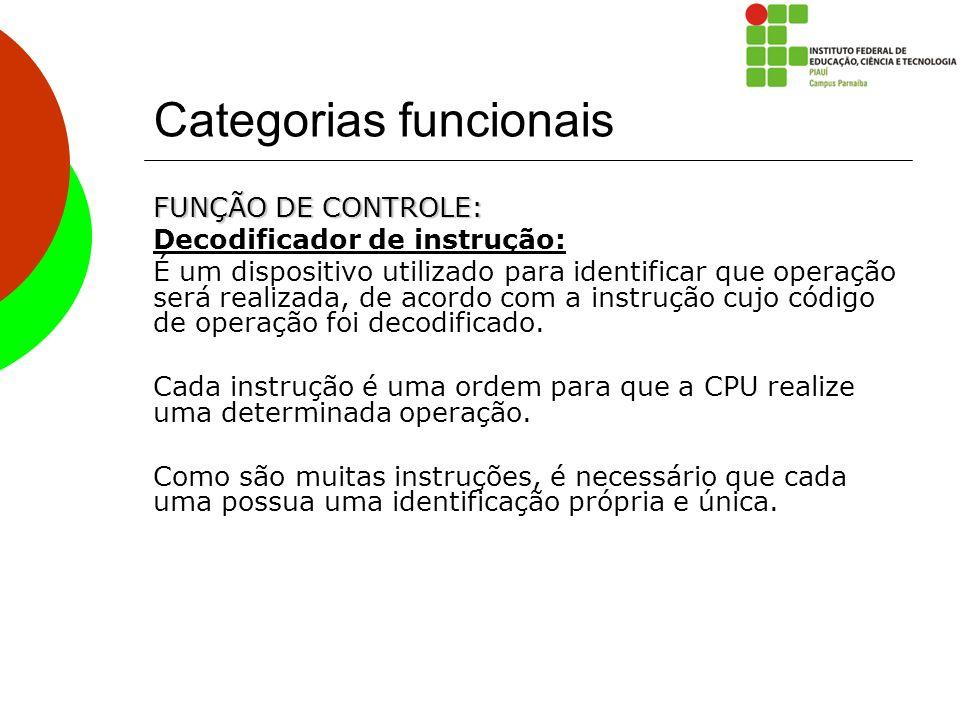 Categorias funcionais FUNÇÃO DE CONTROLE: Decodificador de instrução: É um dispositivo utilizado para identificar que operação será realizada, de acor