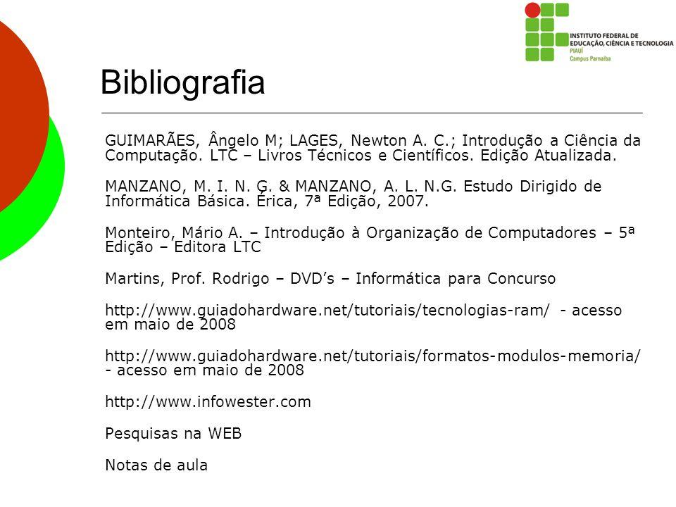 Bibliografia GUIMARÃES, Ângelo M; LAGES, Newton A. C.; Introdução a Ciência da Computação. LTC – Livros Técnicos e Científicos. Edição Atualizada. MAN