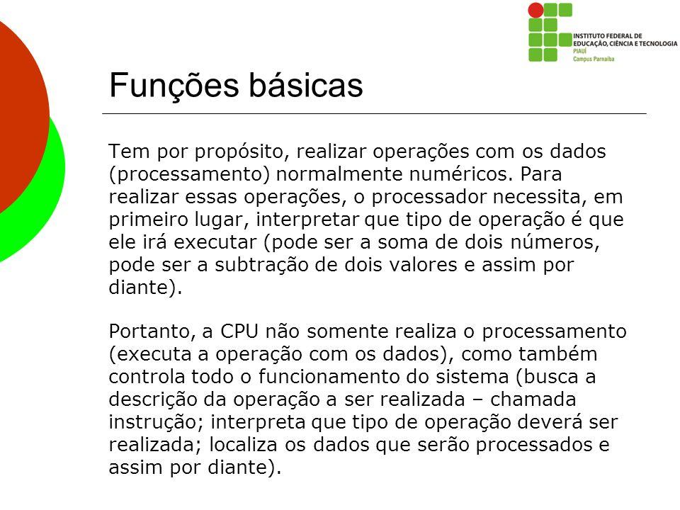 Funções básicas Tem por propósito, realizar operações com os dados (processamento) normalmente numéricos. Para realizar essas operações, o processador