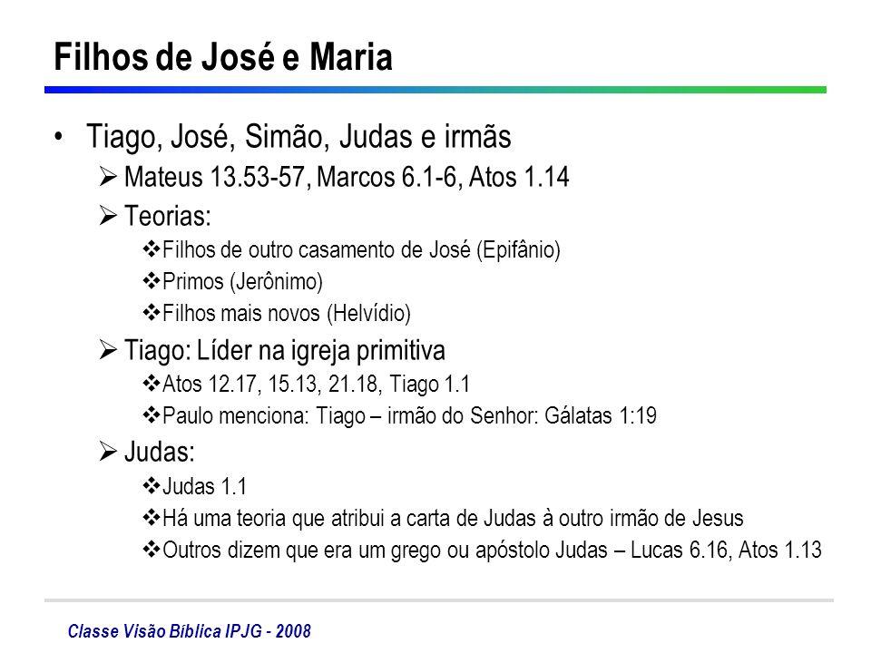 Classe Visão Bíblica IPJG - 2008 Filhos de José e Maria Tiago, José, Simão, Judas e irmãs Mateus 13.53-57, Marcos 6.1-6, Atos 1.14 Teorias: Filhos de
