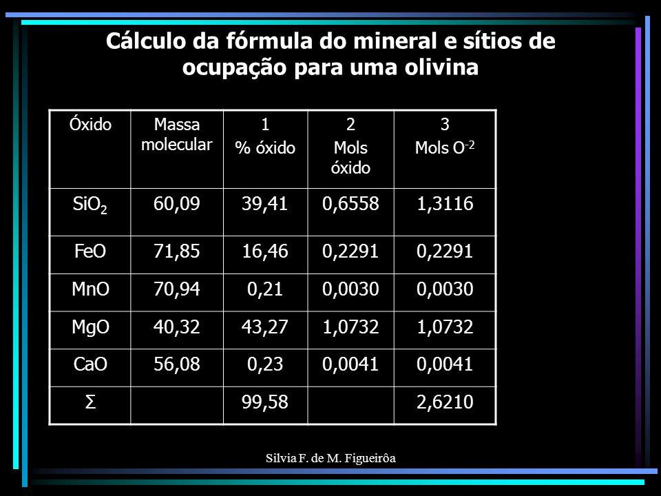 Silvia F. de M. Figueirôa Cálculo da fórmula do mineral e sítios de ocupação para uma olivina ÓxidoMassa molecular 1 % óxido 2 Mols óxido 3 Mols O -2