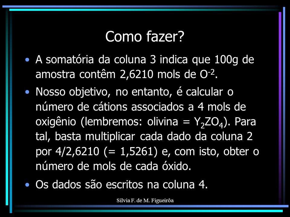 Silvia F. de M. Figueirôa Como fazer? A somatória da coluna 3 indica que 100g de amostra contêm 2,6210 mols de O -2. Nosso objetivo, no entanto, é cal