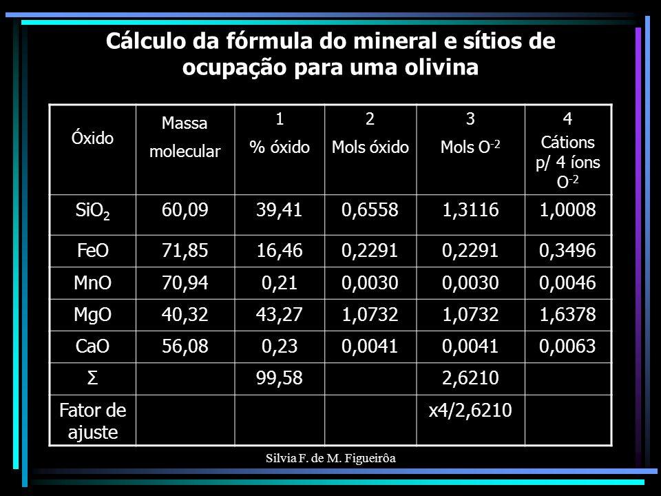 Silvia F. de M. Figueirôa Cálculo da fórmula do mineral e sítios de ocupação para uma olivina Óxido Massa molecular 1 % óxido 2 Mols óxido 3 Mols O -2