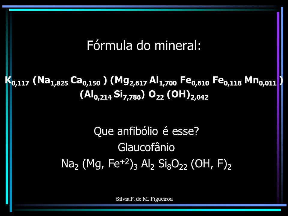 Silvia F. de M. Figueirôa Fórmula do mineral: K 0,117 (Na 1,825 Ca 0,150 ) (Mg 2,617 Al 1,700 Fe 0,610 Fe 0,118 Mn 0,011 ) (Al 0,214 Si 7,786 ) O 22 (