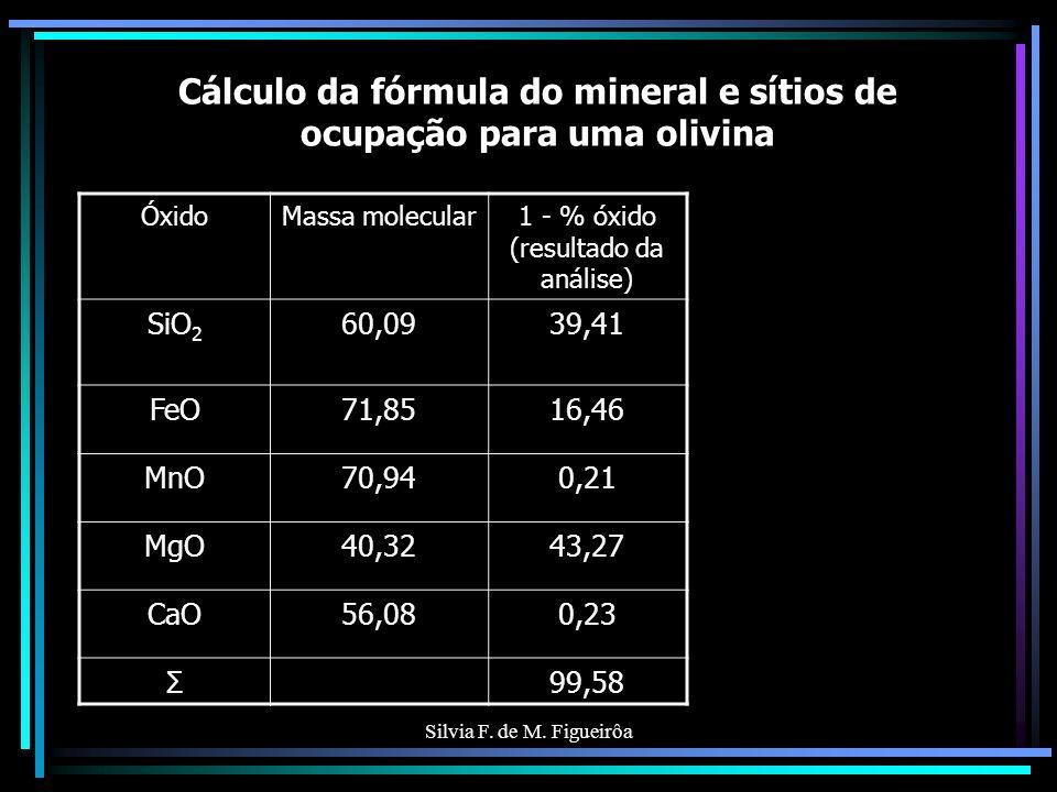 Silvia F. de M. Figueirôa Cálculo da fórmula do mineral e sítios de ocupação para uma olivina ÓxidoMassa molecular1 - % óxido (resultado da análise) S