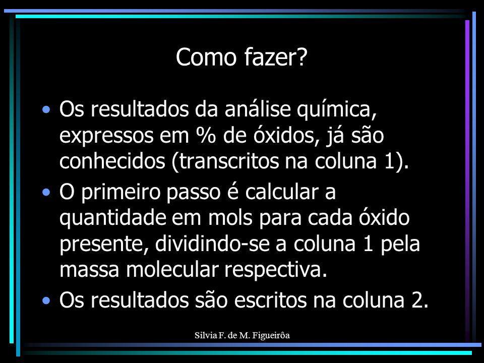 Silvia F. de M. Figueirôa Como fazer? Os resultados da análise química, expressos em % de óxidos, já são conhecidos (transcritos na coluna 1). O prime