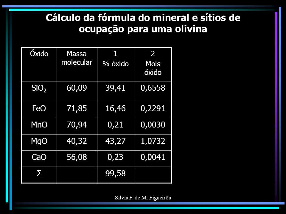 Óxido Massa molecular 1 % óxido 2 Mols óxido 2a Mols metais SiO 2 60,0957,730,9607 Al 2 O 3 101,9412,040,11810,2362 Fe 2 O 3 159,701,160,00730,0146 FeO71,855,410,753 MnO70,940,100,0014 MgO40,3213,020,3229 CaO56,081,040,0185 Na 2 O61,986,980,11260,2252 K2OK2O94,200,680,00720,0144 H2OH2O18,022,270,12600,2520 Σ100,43 Fator de ajuste