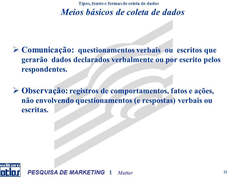 Mattar PESQUISA DE MARKETING 1 11 Comunicação: questionamentos verbais ou escritos que gerarão dados declarados verbalmente ou por escrito pelos respondentes.