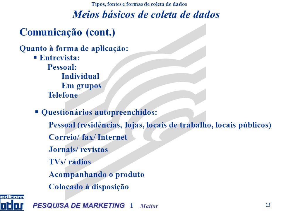 Mattar PESQUISA DE MARKETING 1 13 Quanto à forma de aplicação: Entrevista: Pessoal: Individual Em grupos Telefone Tipos, fontes e formas de coleta de dados Questionários autopreenchidos: Pessoal (residências, lojas, locais de trabalho, locais públicos) Correio/ fax/ Internet Jornais/ revistas TVs/ rádios Acompanhando o produto Colocado à disposição Meios básicos de coleta de dados Comunicação (cont.)