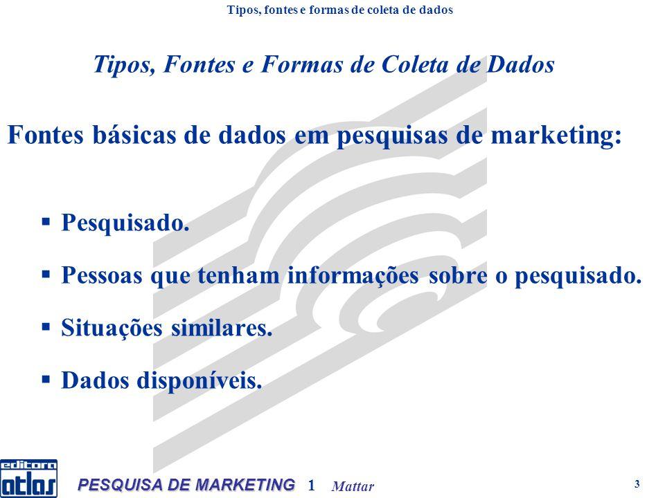 Mattar PESQUISA DE MARKETING 1 3 Fontes básicas de dados em pesquisas de marketing: Pesquisado.