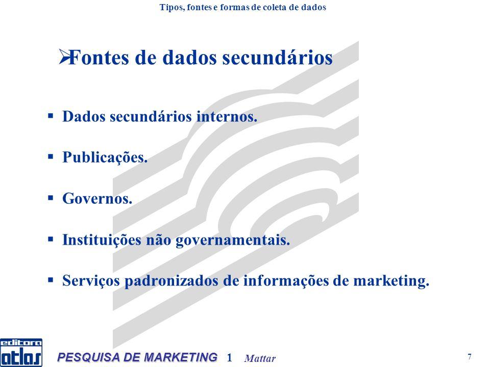 Mattar PESQUISA DE MARKETING 1 7 Fontes de dados secundários Dados secundários internos.