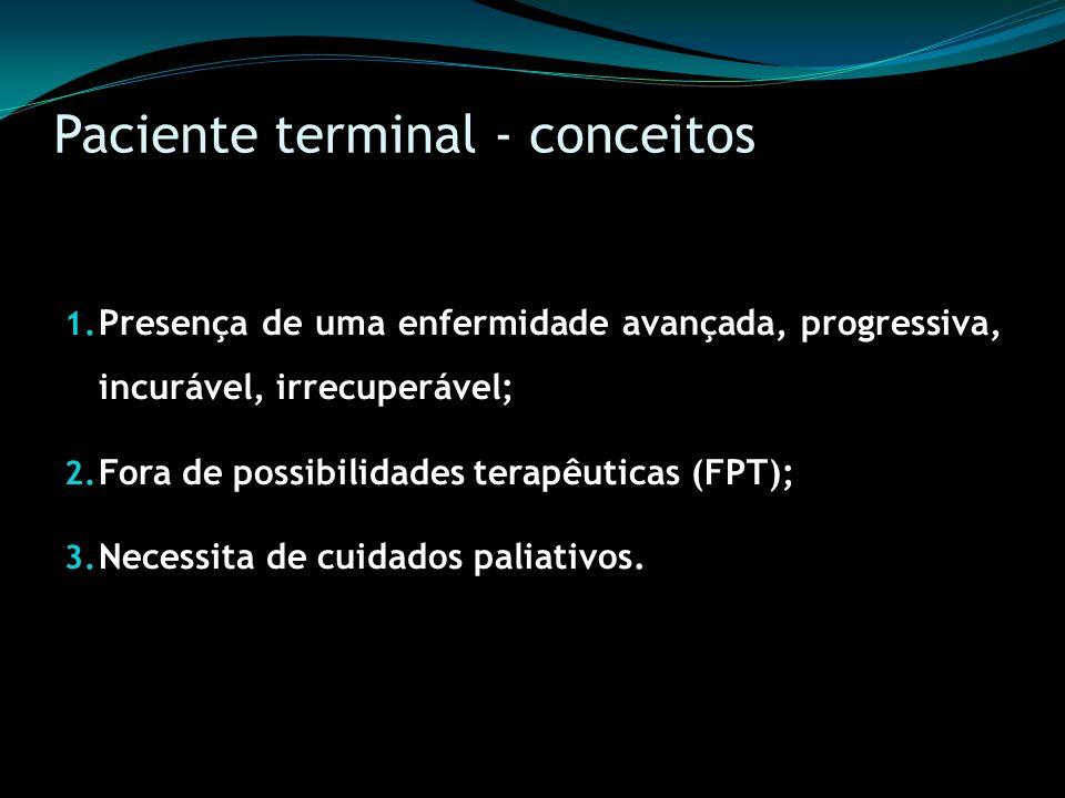 Paciente terminal - conceitos 1. Presença de uma enfermidade avançada, progressiva, incurável, irrecuperável; 2. Fora de possibilidades terapêuticas (