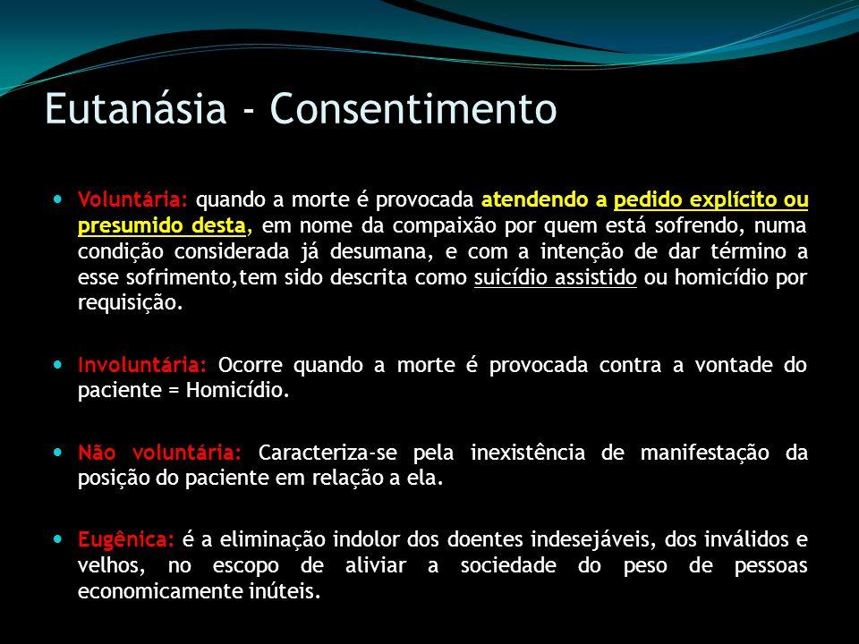 Eutanásia - Consentimento Voluntária: quando a morte é provocada atendendo a pedido explícito ou presumido desta, em nome da compaixão por quem está s