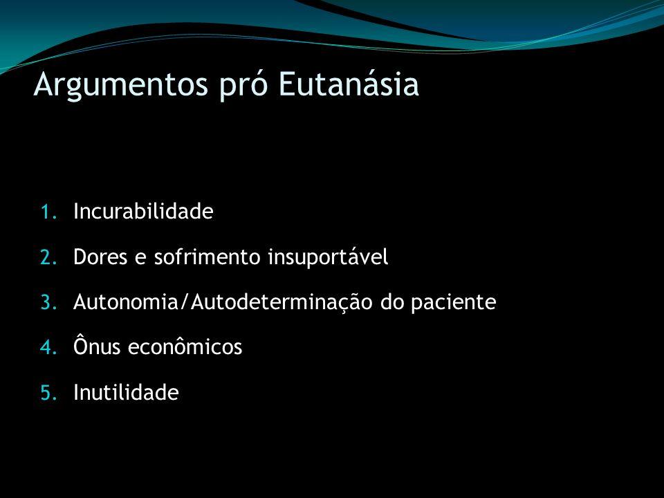 Argumentos pró Eutanásia 1. Incurabilidade 2. Dores e sofrimento insuportável 3. Autonomia/Autodeterminação do paciente 4. Ônus econômicos 5. Inutilid