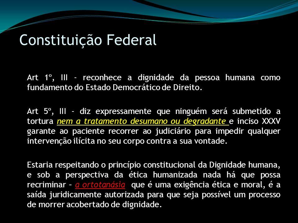 Constituição Federal Art 1º, III - reconhece a dignidade da pessoa humana como fundamento do Estado Democrático de Direito. Art 5º, III - diz expressa