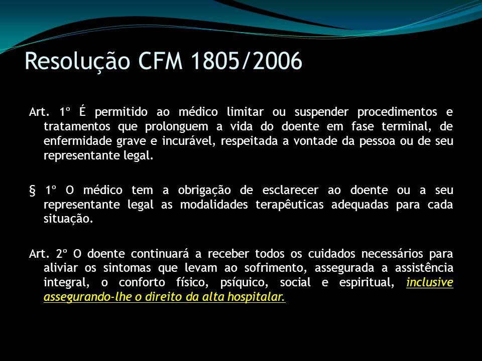 Resolução CFM 1805/2006 Art. 1º É permitido ao médico limitar ou suspender procedimentos e tratamentos que prolonguem a vida do doente em fase termina