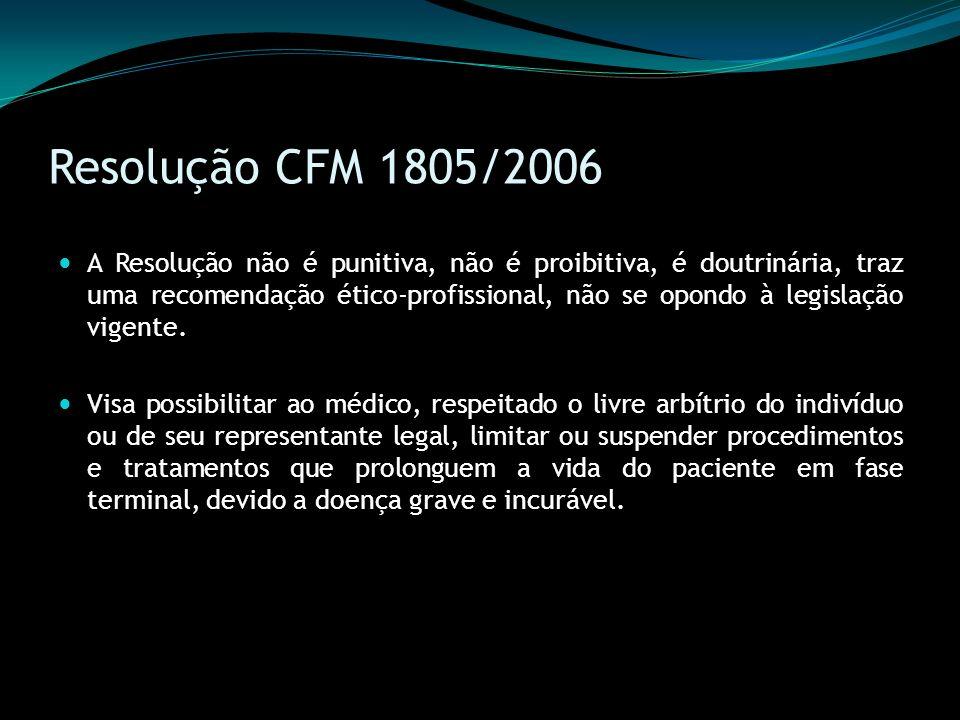 Resolução CFM 1805/2006 A Resolução não é punitiva, não é proibitiva, é doutrinária, traz uma recomendação ético-profissional, não se opondo à legisla