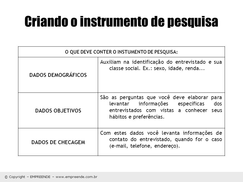 © Copyright – EMPREENDE – www.empreende.com.br Criando o instrumento de pesquisa O QUE DEVE CONTER O INSTUMENTO DE PESQUISA: DADOS DEMOGRÁFICOS Auxili