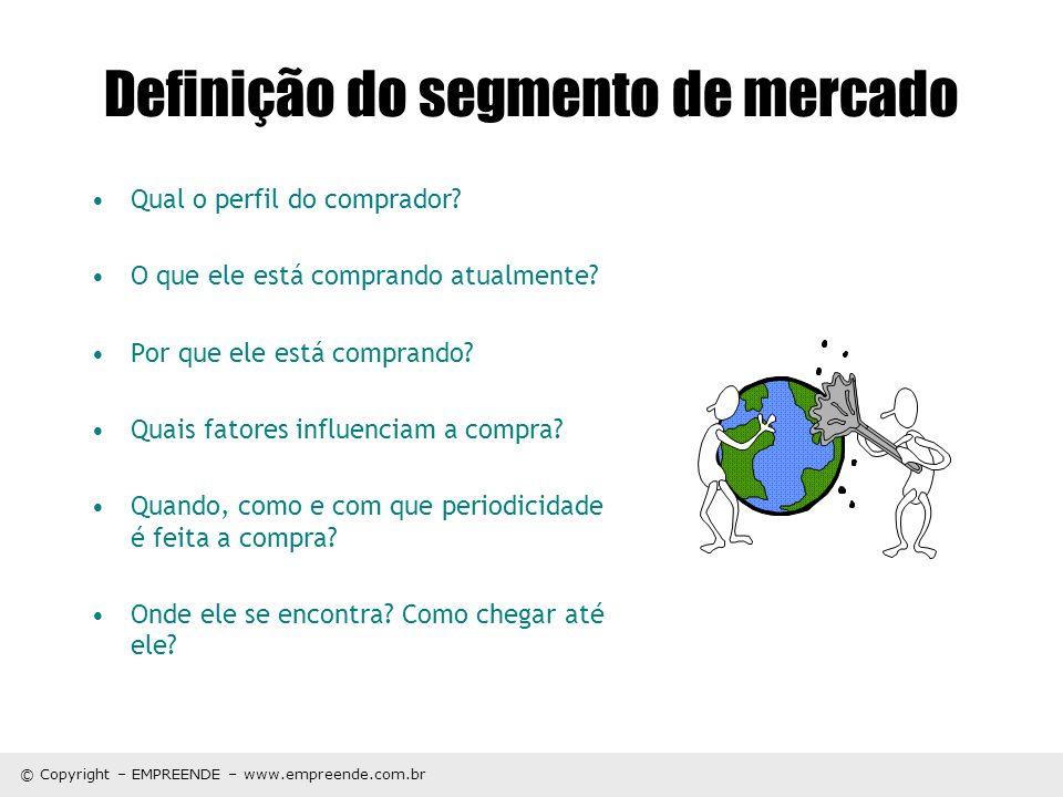 © Copyright – EMPREENDE – www.empreende.com.br Perfil do consumidor Geografia (Onde os consumidores moram?) –País, região, estado, cidade, bairro etc.