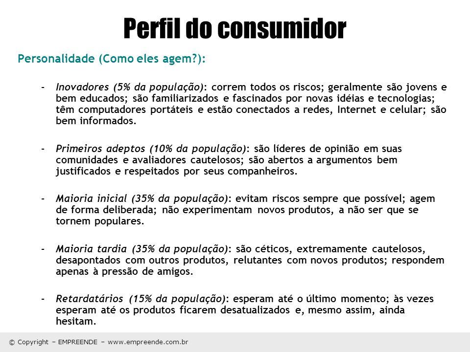 © Copyright – EMPREENDE – www.empreende.com.br Perfil do consumidor Personalidade (Como eles agem?): –Inovadores (5% da população): correm todos os ri