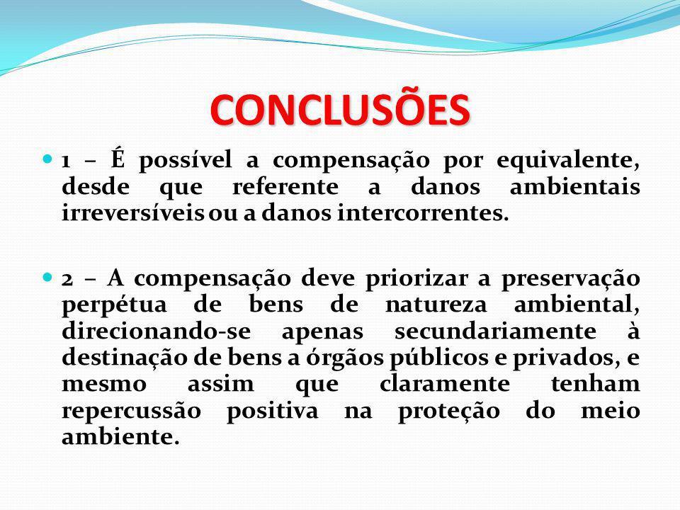 CONCLUSÕES 1 – É possível a compensação por equivalente, desde que referente a danos ambientais irreversíveis ou a danos intercorrentes. 2 – A compens
