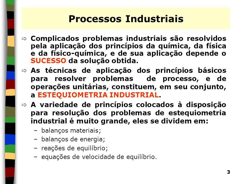 3 Processos Industriais Complicados problemas industriais são resolvidos pela aplicação dos princípios da química, da física e da físico-química, e de
