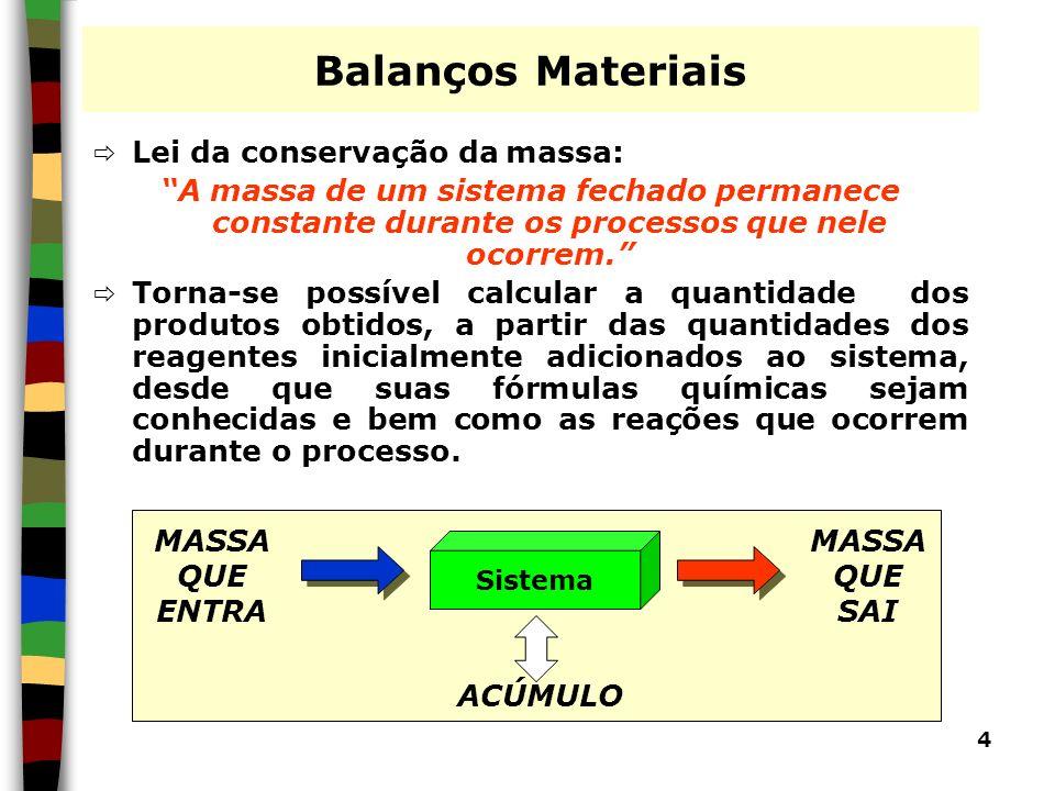4 Balanços Materiais Lei da conservação da massa: A massa de um sistema fechado permanece constante durante os processos que nele ocorrem. Torna-se po