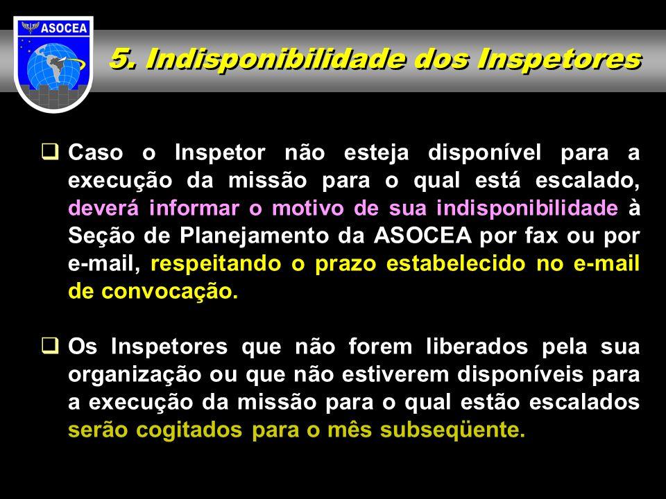 5. Indisponibilidade dos Inspetores Caso o Inspetor não esteja disponível para a execução da missão para o qual está escalado, deverá informar o motiv