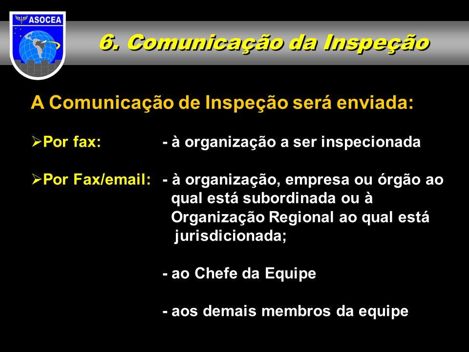 6. Comunicação da Inspeção A Comunicação de Inspeção será enviada: Por fax: - à organização a ser inspecionada Por Fax/email:- à organização, empresa