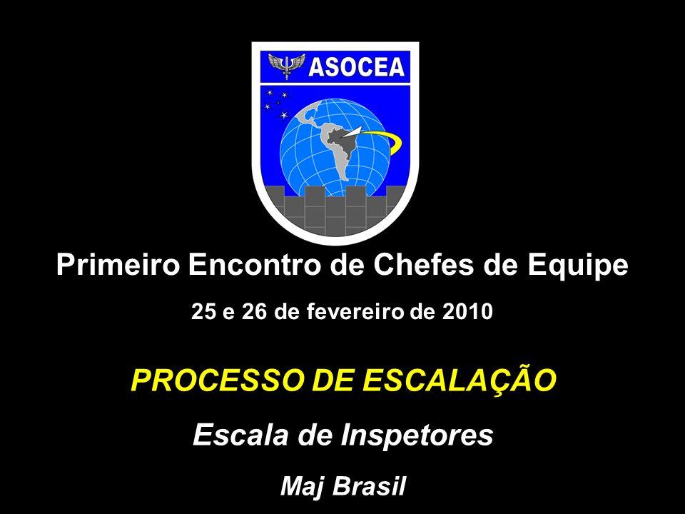PROCESSO DE ESCALAÇÃO Escala de Inspetores Maj Brasil Primeiro Encontro de Chefes de Equipe 25 e 26 de fevereiro de 2010