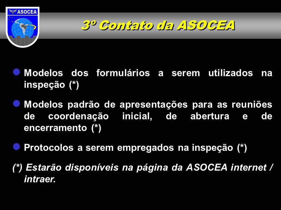 3º Contato da ASOCEA Modelos dos formulários a serem utilizados na inspeção (*) Modelos padrão de apresentações para as reuniões de coordenação inicia