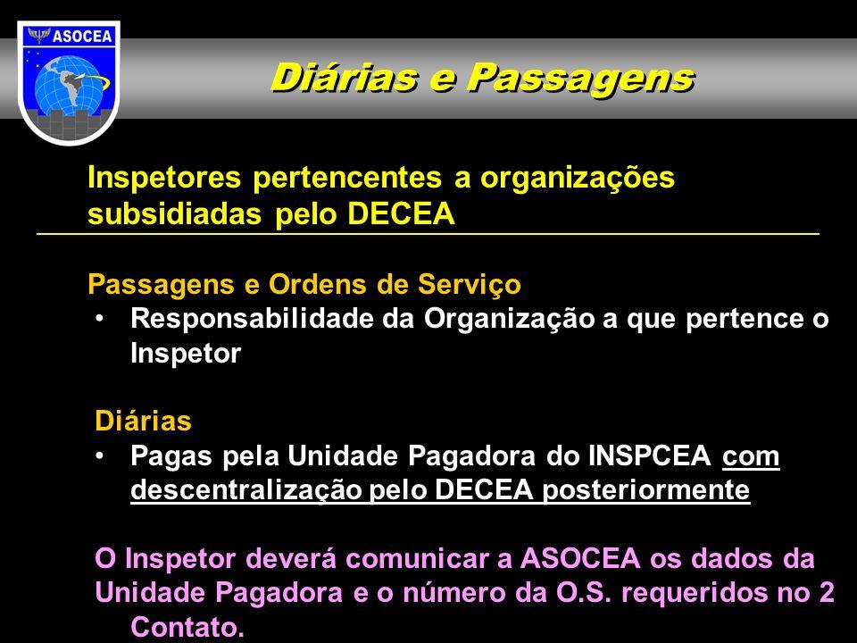 Diárias e Passagens Inspetores pertencentes a organizações subsidiadas pelo DECEA Passagens e Ordens de Serviço Responsabilidade da Organização a que