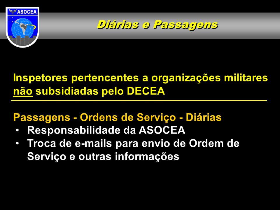 Diárias e Passagens Inspetores pertencentes a organizações militares não subsidiadas pelo DECEA Passagens - Ordens de Serviço - Diárias Responsabilida