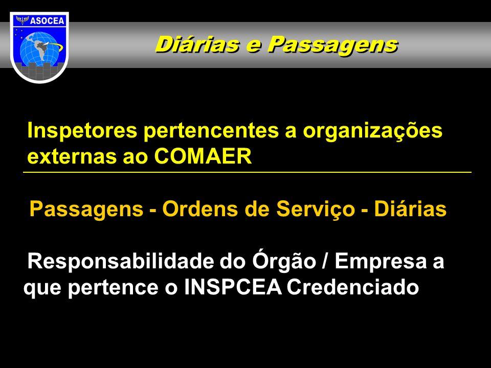 Diárias e Passagens Inspetores pertencentes a organizações externas ao COMAER Passagens - Ordens de Serviço - Diárias Responsabilidade do Órgão / Empr