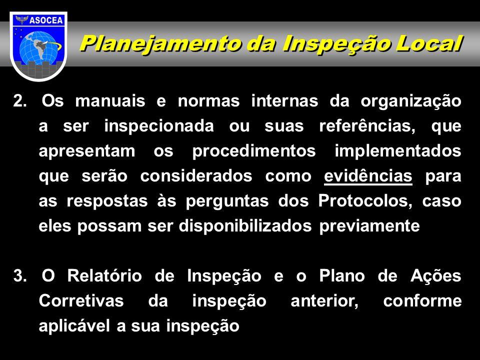 Planejamento da Inspeção Local 2. Os manuais e normas internas da organização a ser inspecionada ou suas referências, que apresentam os procedimentos