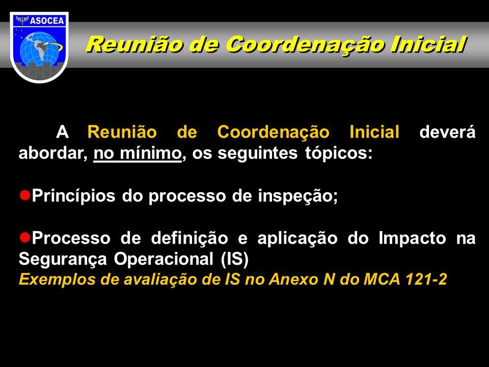 Reunião de Coordenação Inicial A Reunião de Coordenação Inicial deverá abordar, no mínimo, os seguintes tópicos: Princípios do processo de inspeção; P