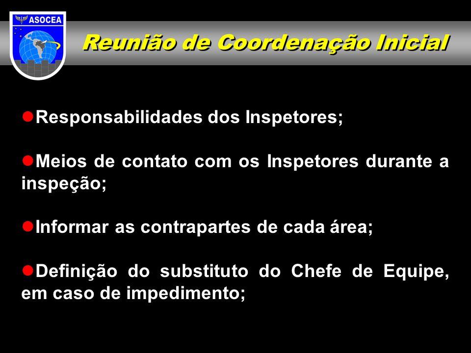 Reunião de Coordenação Inicial Responsabilidades dos Inspetores; Meios de contato com os Inspetores durante a inspeção; Informar as contrapartes de ca