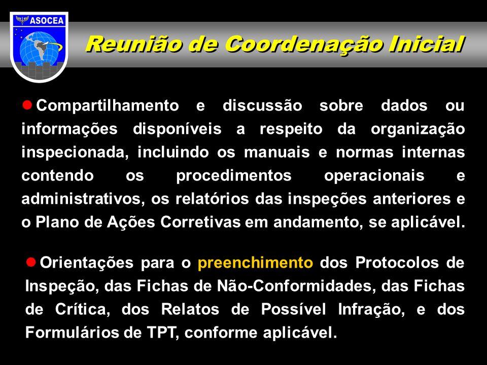 Reunião de Coordenação Inicial Compartilhamento e discussão sobre dados ou informações disponíveis a respeito da organização inspecionada, incluindo o