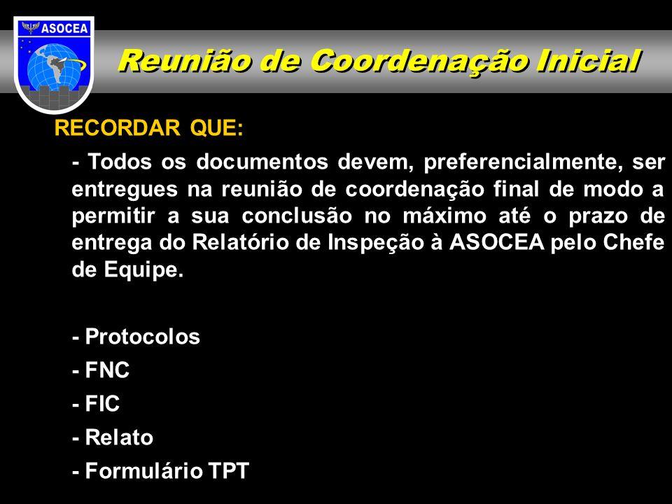 Reunião de Coordenação Inicial RECORDAR QUE: - Todos os documentos devem, preferencialmente, ser entregues na reunião de coordenação final de modo a p