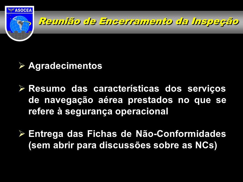 Reunião de Encerramento da Inspeção Agradecimentos Resumo das características dos serviços de navegação aérea prestados no que se refere à segurança o