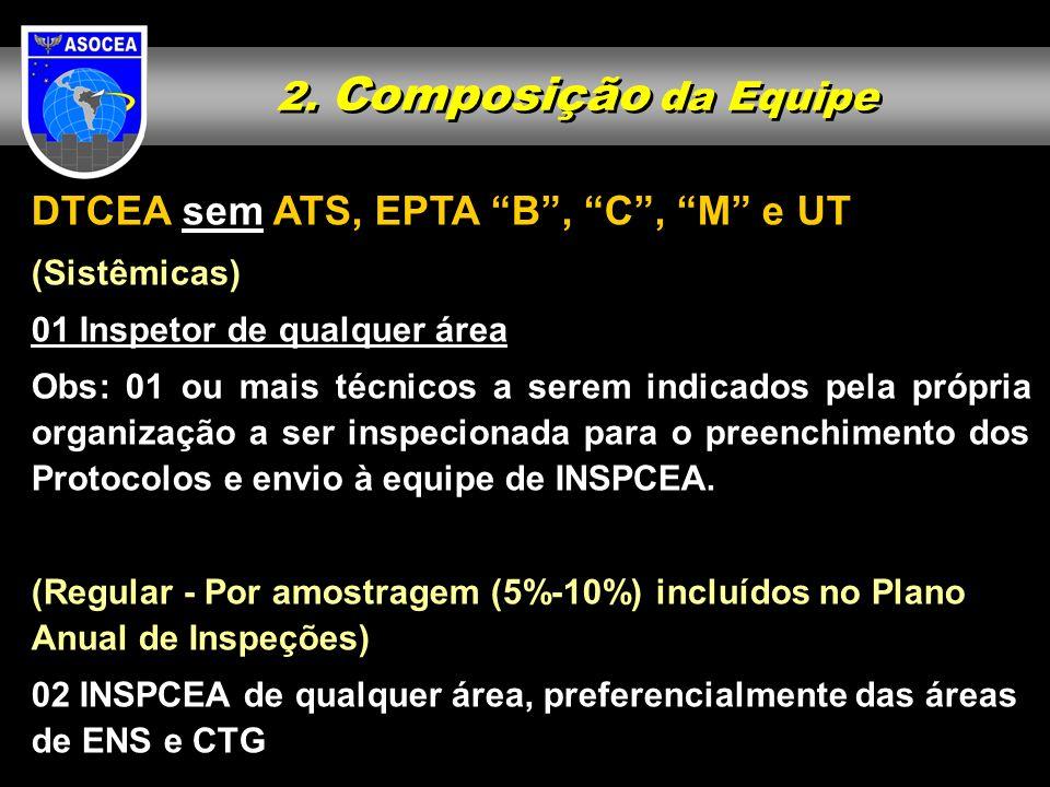 2. Composição da Equipe DTCEA sem ATS, EPTA B, C, M e UT (Sistêmicas) 01 Inspetor de qualquer área Obs: 01 ou mais técnicos a serem indicados pela pró