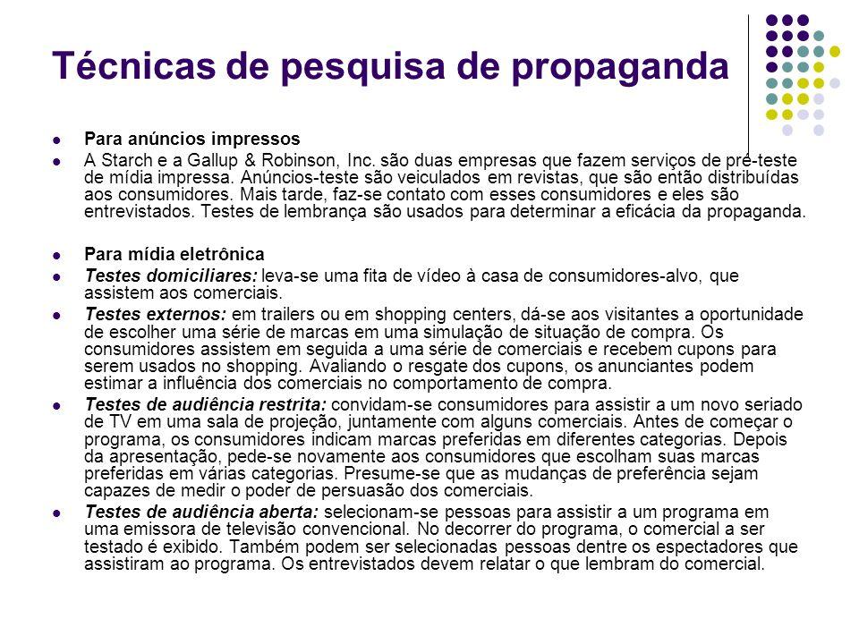 Técnicas de pesquisa de propaganda Para anúncios impressos A Starch e a Gallup & Robinson, Inc. são duas empresas que fazem serviços de pré-teste de m
