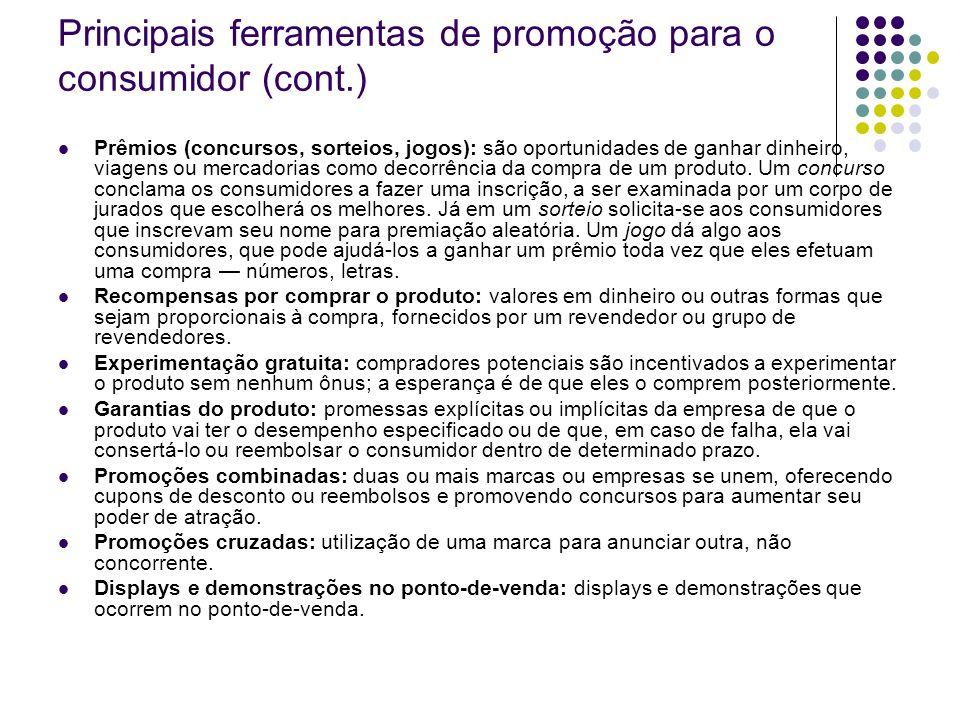 Principais ferramentas de promoção para o consumidor (cont.) Prêmios (concursos, sorteios, jogos): são oportunidades de ganhar dinheiro, viagens ou me