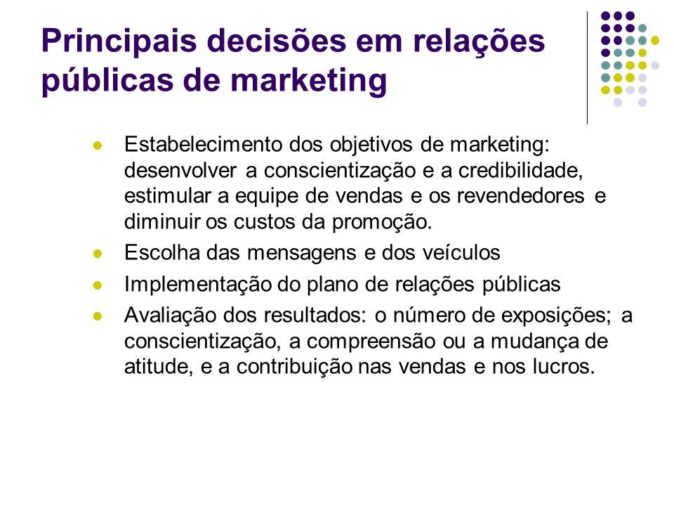 Principais decisões em relações públicas de marketing Estabelecimento dos objetivos de marketing: desenvolver a conscientização e a credibilidade, est