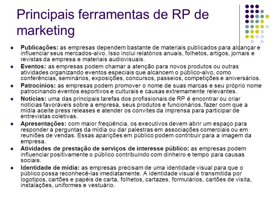 Principais ferramentas de RP de marketing Publicações: as empresas dependem bastante de materiais publicados para alcançar e influenciar seus mercados