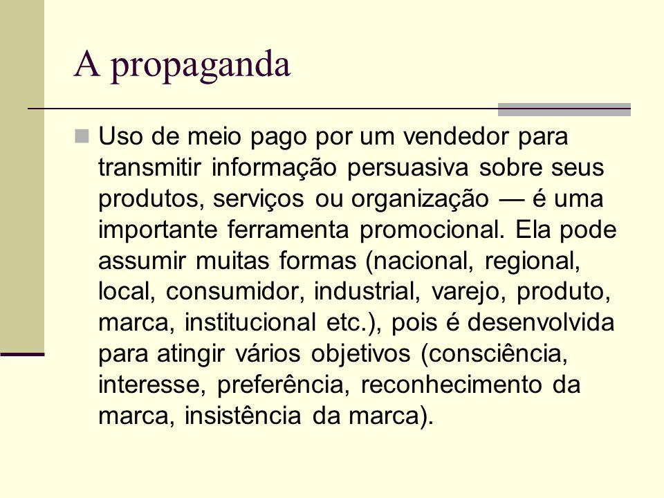 A propaganda Uso de meio pago por um vendedor para transmitir informação persuasiva sobre seus produtos, serviços ou organização é uma importante ferr